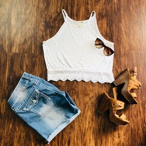 Trendy White Embroidered Crop Top